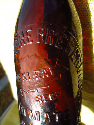 Old Sauce Bottle - 10oz. Stanmore NSW Preserving Co - Amber w/Oakleaf T/M