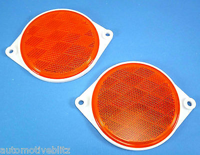 Safety Amber Reflectors Round 80mm with surround Screw On Type 2Piece Set