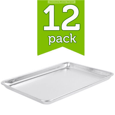 "12-Pack 18"" x 13"" Half Size Aluminum Baking Bun Tray Cookie Sheet Jelly Roll Pan"