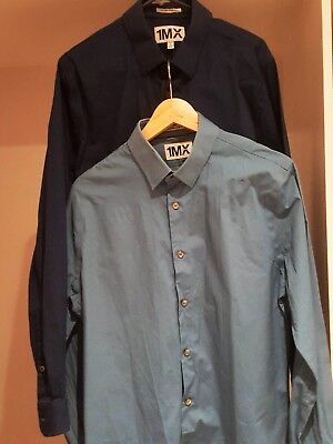 Express 1MX Men Dress Shirts in Navy and Duck Egg Blue - Extra Slim Fit - Sz L
