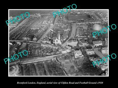 OLD LARGE HISTORIC PHOTO OF BRENTFORD LONDON ENGLAND, CLIFDEN Rd & FOOTBALL 1920