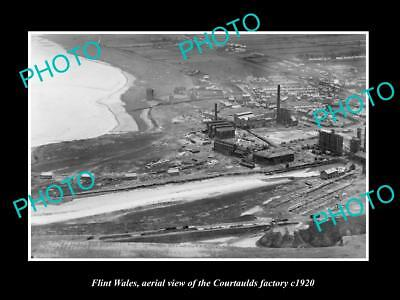 OLD LARGE HISTORIC PHOTO OF FLINT WALES, VIEW OF THE COURTAULDS FACTORY c1920