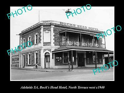 OLD LARGE HISTORICAL PHOTO OF ADELAIDE SA, BUCKS HEAD HOTEL, NORTH Tce 1940
