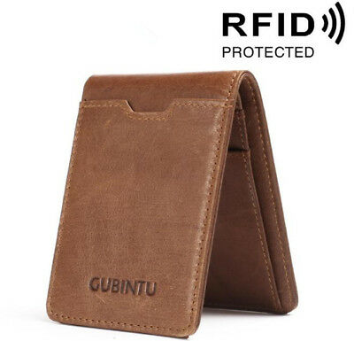 Mens Genuine Leather Purse Credit Card Holder Cash Clip Wallet RFID Blocking