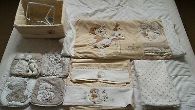 Bubba Blue Cot Sheets & Quilt Set with Living Textiles Wall Plaques