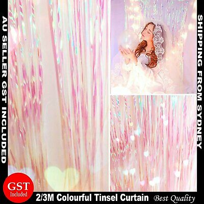 1/2/3M Metallic Tinsel Curtain Foil Clear Colourful Champagne Unicorn Colour Dec