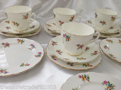 ♡ 15 pcs ADDERLEY ' FLORAL ' SQUARE & ROUND SIDE PLATES SAUCERS TEACUPS