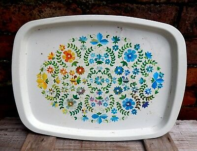 Vintage 60s 70s Serving Tea  Drinks Tray Shabby Chic Metal Floral Mid Century B