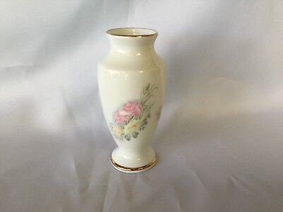 Vintage David Michael Fine Bone China Vase White Gold Trim Flowers Made England