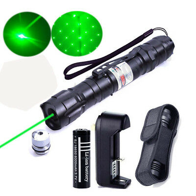 Tactical 50Mile 5mw Green Laser Pointer Lazer Pen Beam Zoom Focus+18650 Battery