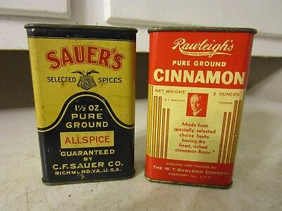 Vintage SAUER'S RAWLEIGHS SPICE TIN LOT ESTATE FIND ADVERTISING