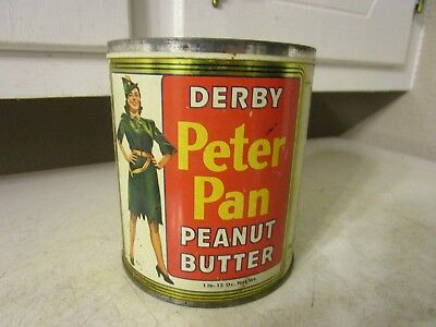 Vintage Derby's Peter Pan Peanut Butter Litho Tin Can EMPTY NO LID ESTATE FIND