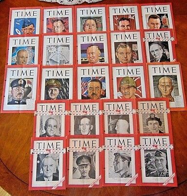 Vintage Ww2 Lot Of 23 Time Magazine Pony Editions ~ 1944 & 1945