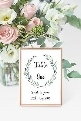 Wedding Table number cards A6 -Personalised with names and date - price per card