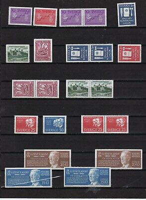 Sweden Year 1962 MNH With Pairs