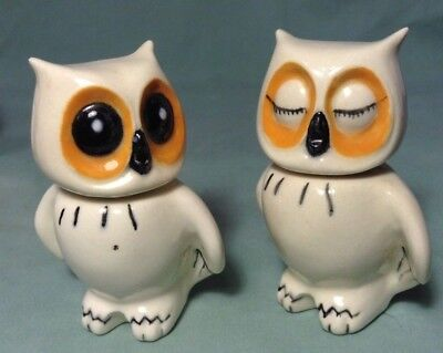 Cute Rare Pair White Owls Orange Open and Closed Eyes Porcelain Vintage Figurine