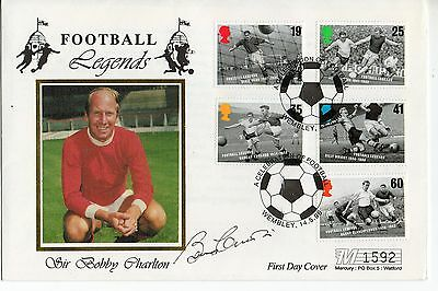"Bobby Charlton ""Football Legends"" Signed Silk FDC 1996"