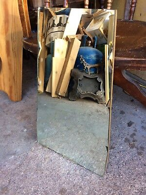 Vintage Original Art Deco Bevelled Edge Frameless Wall Mirror