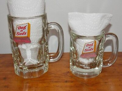 2 Sizes '70's Vintage Original  Dog n Suds Logo HEAVY Glass Root Beer Float Mug