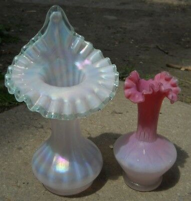 2 Fenton Glass Vase Opalescent Iridescent Jack In The Pulpit Pink