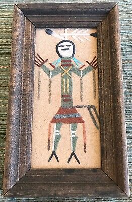 VINTAGE NATIVE AMERICAN NAVAJO FRAMED SAND PAINTING Signed J Begay