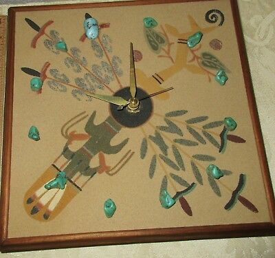 "Navajo Sand Painting Wall Clock Titled ""Four Sacred Plants"" 9"" Square"