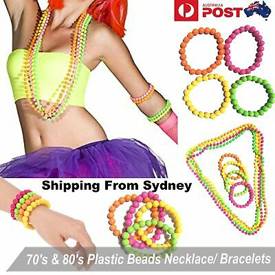 70s/80s Theme Neon Plastic Beads Long Necklace Bracelets Costume Hot Disco Fancy