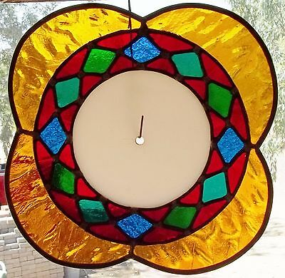 """Vintage Stained Glass Church Window Roundal Religious 1950-60's Sun-Catcher 10"""""""