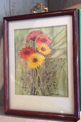 Vintage Small Framed Signed Water Colour Painting Retro Orange Yellow Daisies