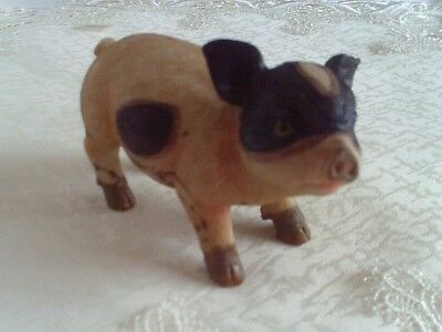 Farmhouse Pig Figurine Brown Tan Looking Right Resin Cute Face Piglet Country