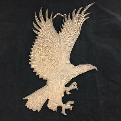 Solid Brass Engraved Patriotic Eagle Wall Hanging / Art / Plaque