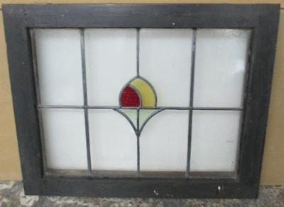 MIDSIZE OLD ENGLISH LEAD STAINED GLASS WINDOW Simple Abstract Floral 24.75 x 20