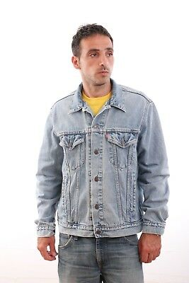 Mens Vintage Levis Red Tab 70503 Medium Blue Denim Cotton Jacket Trucker L SUPER