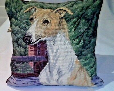 Greyhound Needlepoint Dog Pillow from Union Trading Brown Cotton Back RARE