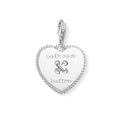 NEW Thomas Sabo Sterling Silver Heart Cute As A Button Charm Pendant Sewing Love
