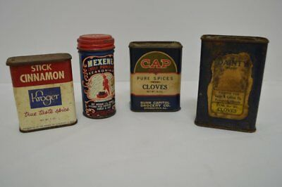 Group Of Old - Spice Tins: Kroger, Cap, Mexene And Dainty