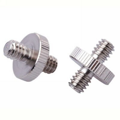 """2pcs 1/4"""" Male to 1/4"""" Male Threaded Double Screw Adapter Camera Tripod Holder"""
