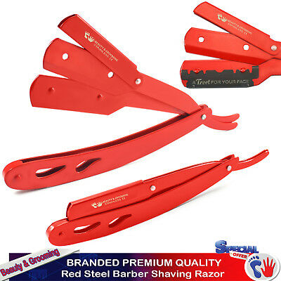 Red Steel Mens Straight Razors Edge Barber Hair Shaving Razor Folding Knife NEW