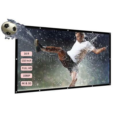 """16:9 Portable Wall Projection Foldable Screen Projector 60 84"""" 150"""" For Theater"""