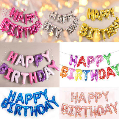 """Large Self Inflating 16"""" Inch Foil 13 Letter Happy Birthday Ballons Banner Party"""