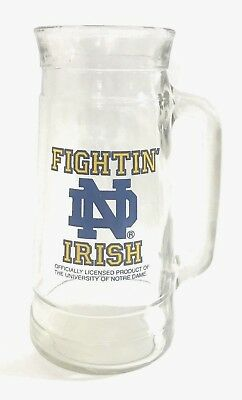 University of Notre Dame Fighting Irish Clear Glass Beer Stein Coffee Mug  Cup