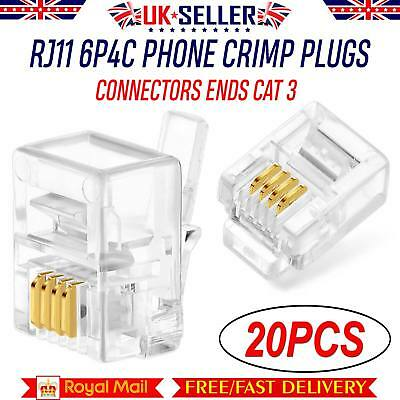20 x RJ11 6P4C Phone Crimp Plugs Connectors Ends Cat 3 ADSL 4 Pin Telephone Fax