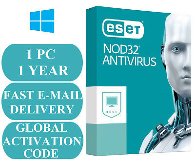 ESET NOD32 Antivirus 1 PC 1 YEAR GLOBAL ACTIVATION CODE 2019 E-MAIL ONLY