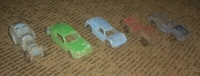 LOT OF 5 Vintage metal 1960's Tootsietoy toy Cars JEEP FORD MUSTANG antique OLD