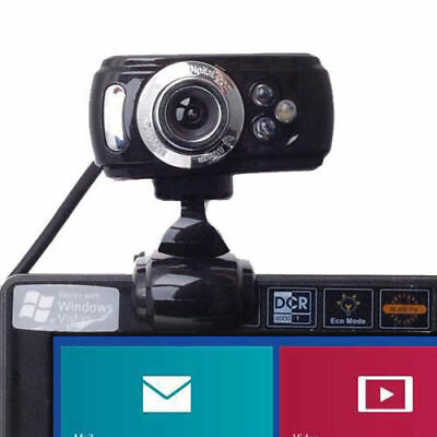 USB 50 Megapixel HD Webcam Web Cam Camera  Microphone Mic 3 LED PC Laptop Skype