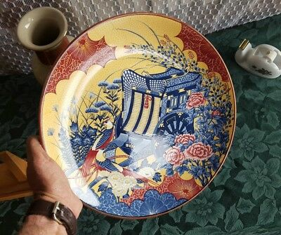 """Vintage 12.75"""" Japanese Porcelain Charger Seal Marked Hand painted Peacock Cart"""