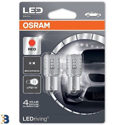OSRAM P21W LEDriving Red 12V BA15s Exterior Rear Brake Bulbs 7456R-02B Set
