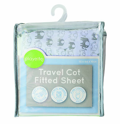 Printed Travel Cot Fitted Sheet - Blue Elephant 1353508.,