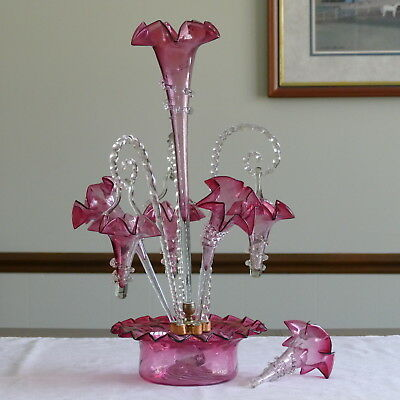 Antique Victorian 1800's Cranberry Art Glass 4 Horns & 3 Hanging Epergne Rare