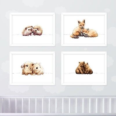 Twin Woodland Nursery Print Set of 4 | First Birthday Gift for Twins | Unframed